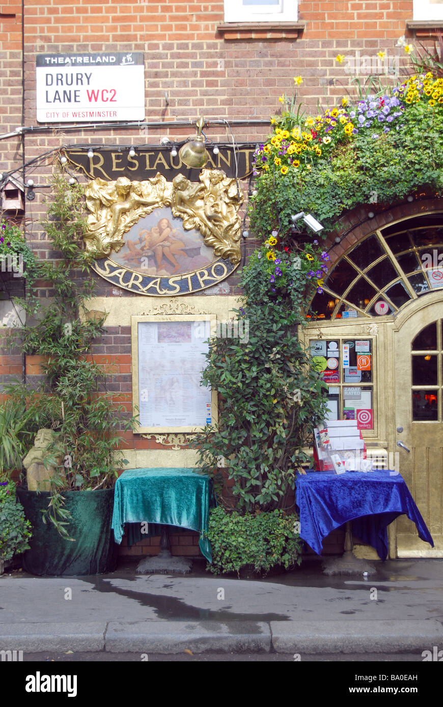 Sarastro restaurant Drury Lane London Theatreland - Stock Image