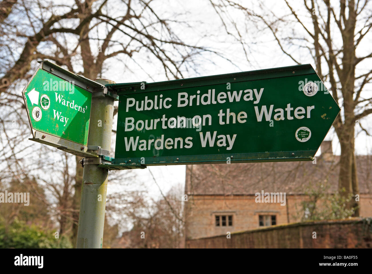 Bridleway Sign and Footpath Sign, The Cotswolds - Stock Image