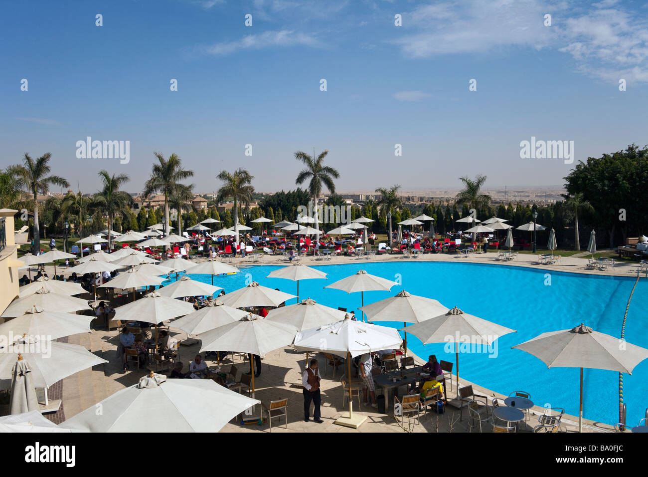 swimming pool and clubhouse, Katameya Heights golf club New Cairo, Egypt - Stock Image