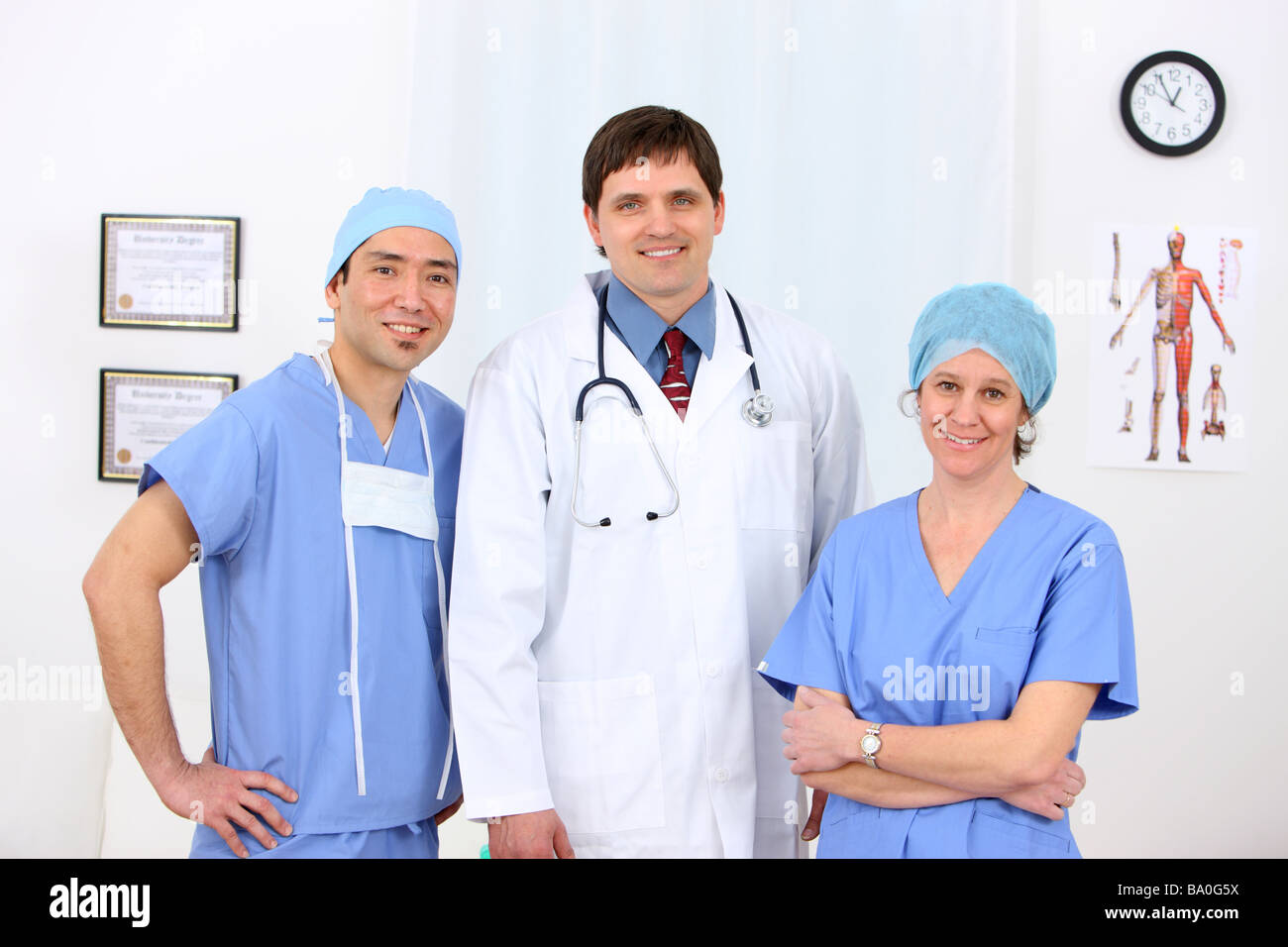 Medical personnel group portrait - Stock Image