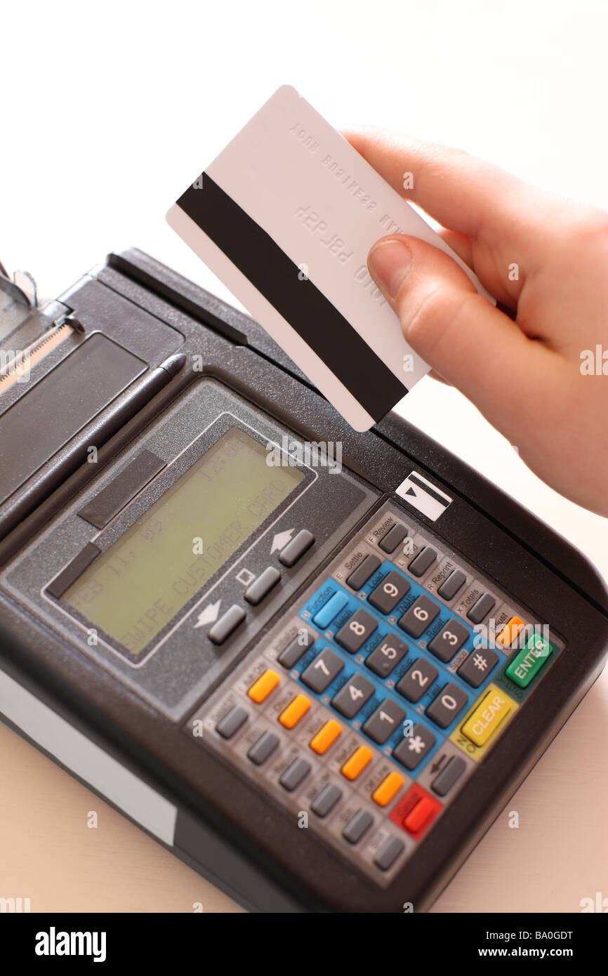 Credit card machine close up - Stock Image