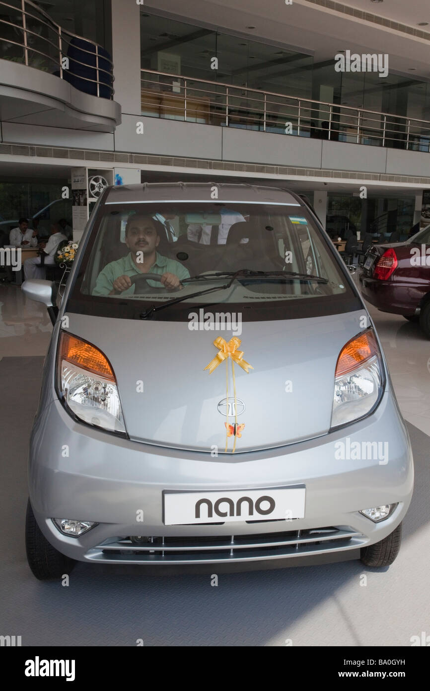 the new Tata car the Nano has been release in the shop of india and indian people seems to be really interresting Stock Photo