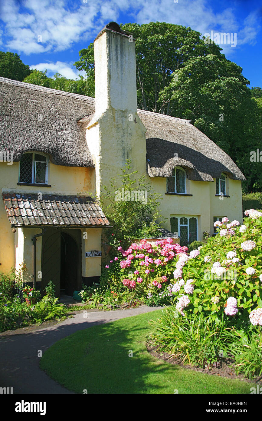 Bow Cottage - a National Trust thatched cottage on the Holnicote estate on Selworthy Green, Somerset, England, UK - Stock Image