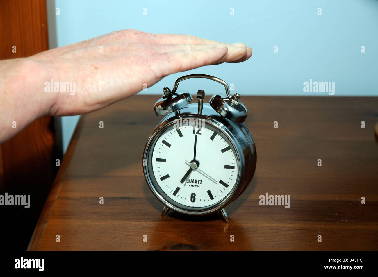 Alarm Clock Womans Hand Switching An Early Morning Alarm Off