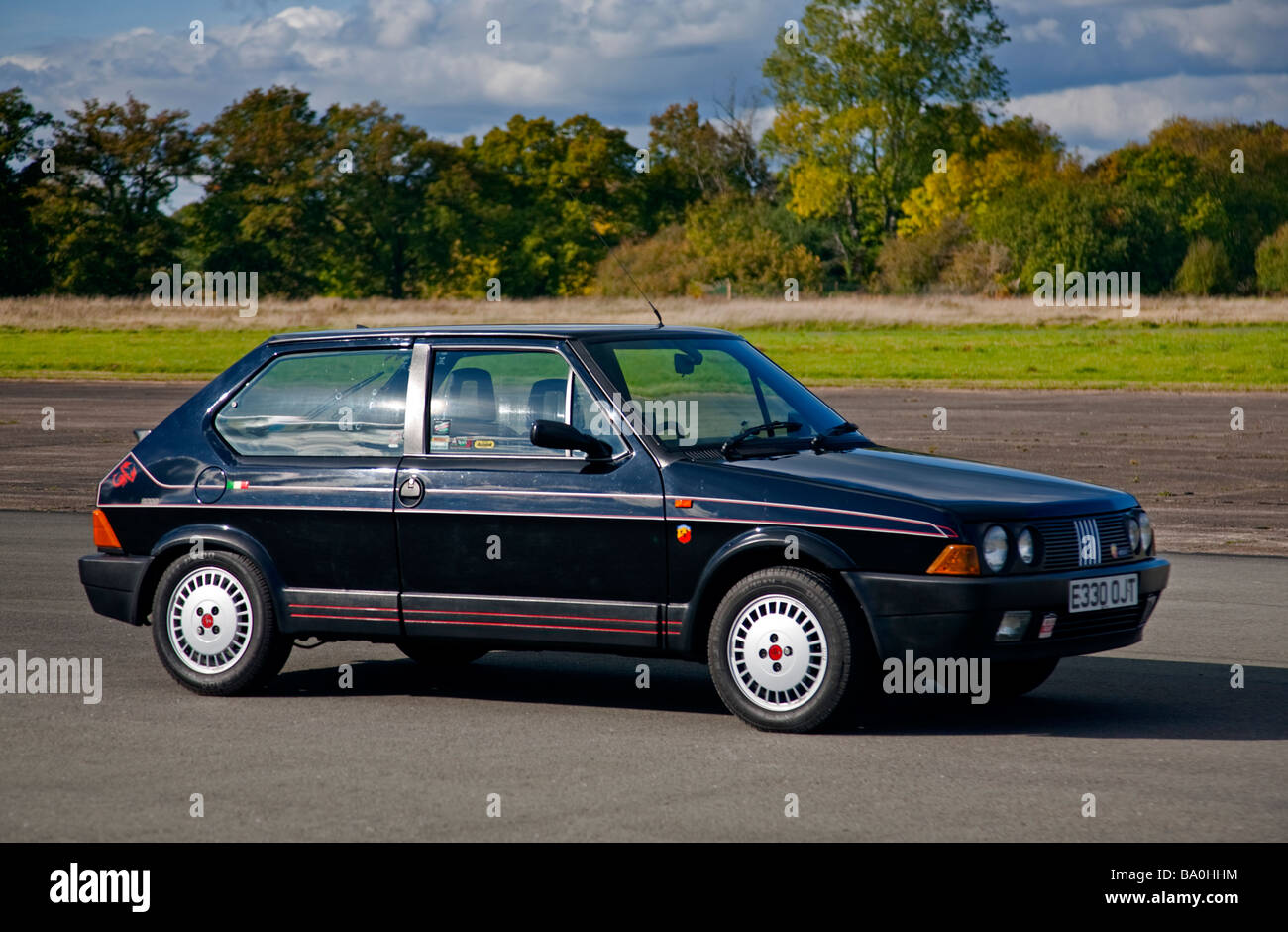 Black Fiat Strada Abarth Mk 2 (130TC) 1988 - Stock Image