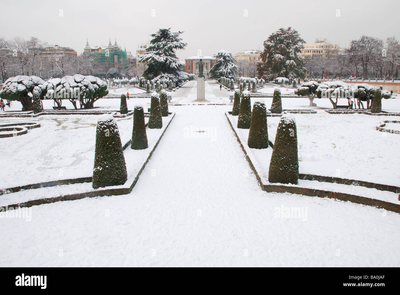 Snow covered Parterre. The Retiro park. Madrid. Spain. - Stock Image