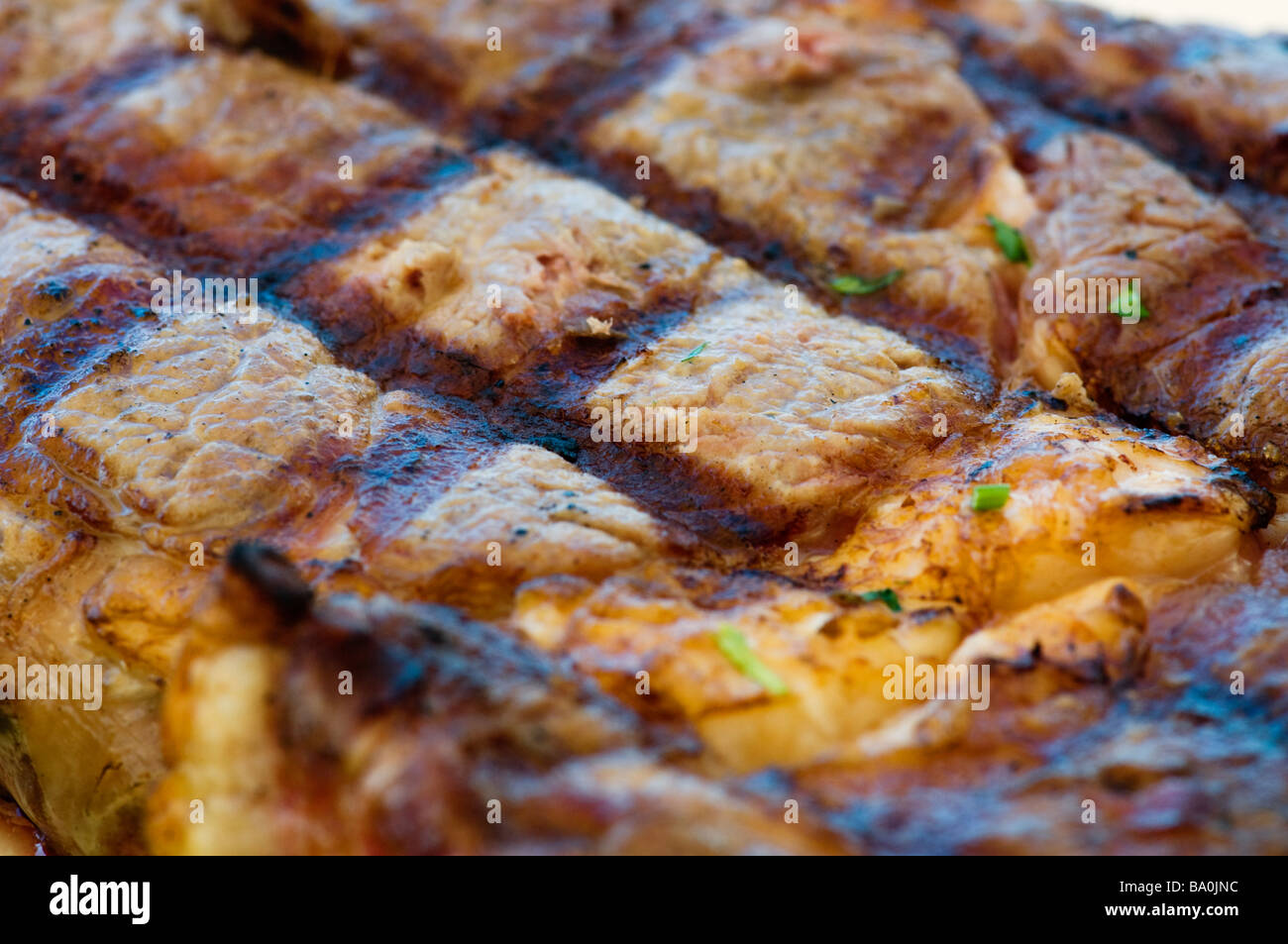 Detail of a prime rib entrecote steak - Stock Image