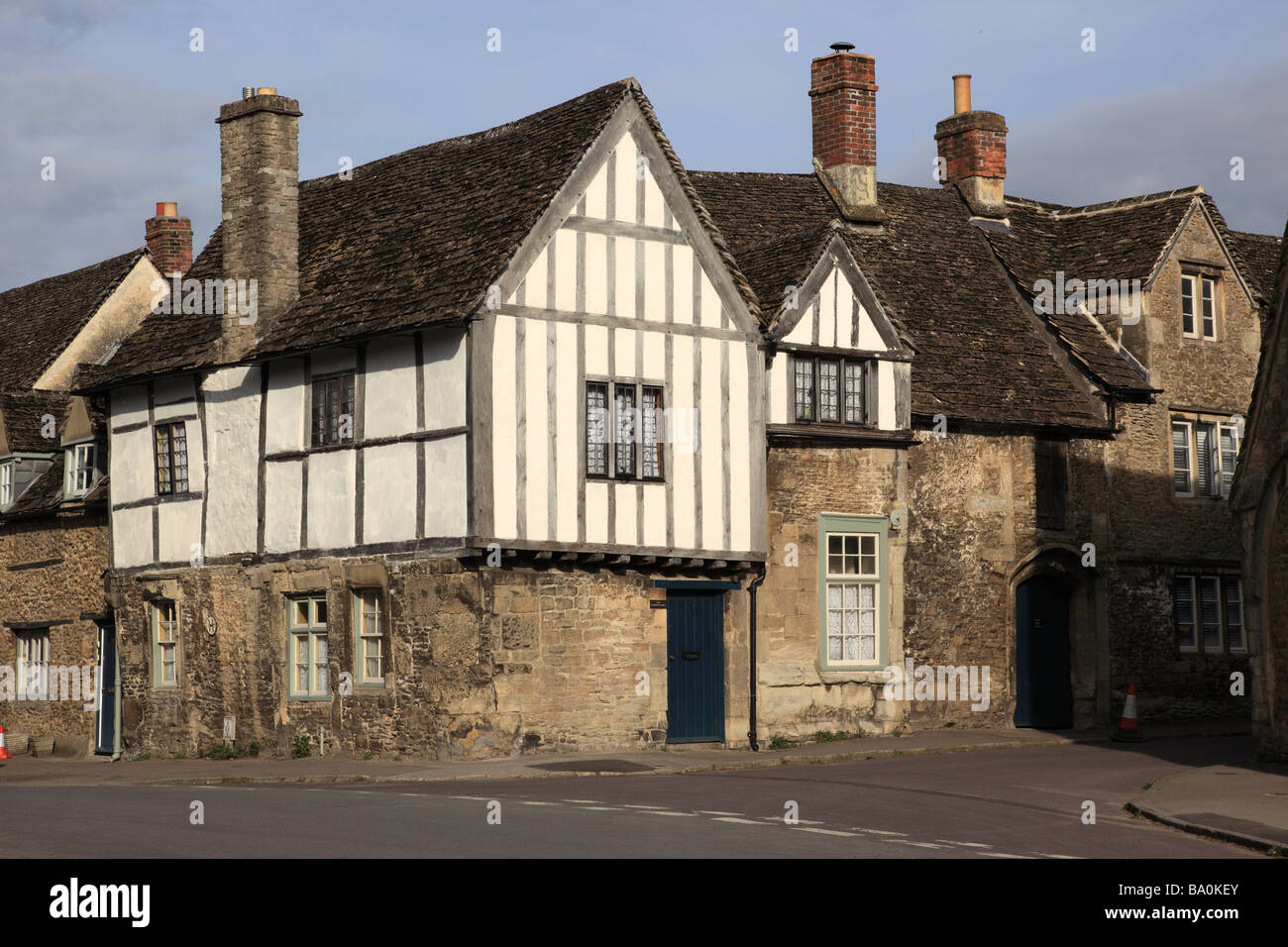 High Street, Lacock, Wiltshire, England - Stock Image