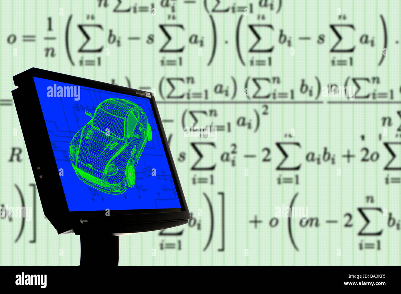 3d Wire Frame Image Of Car On Computer Screen Math Symbols In Stock