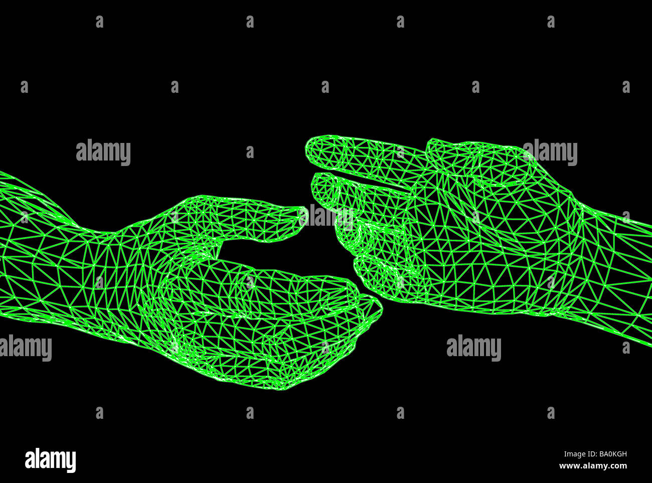 computer generated wire frame view of 3D hands Stock Photo: 23372289 ...