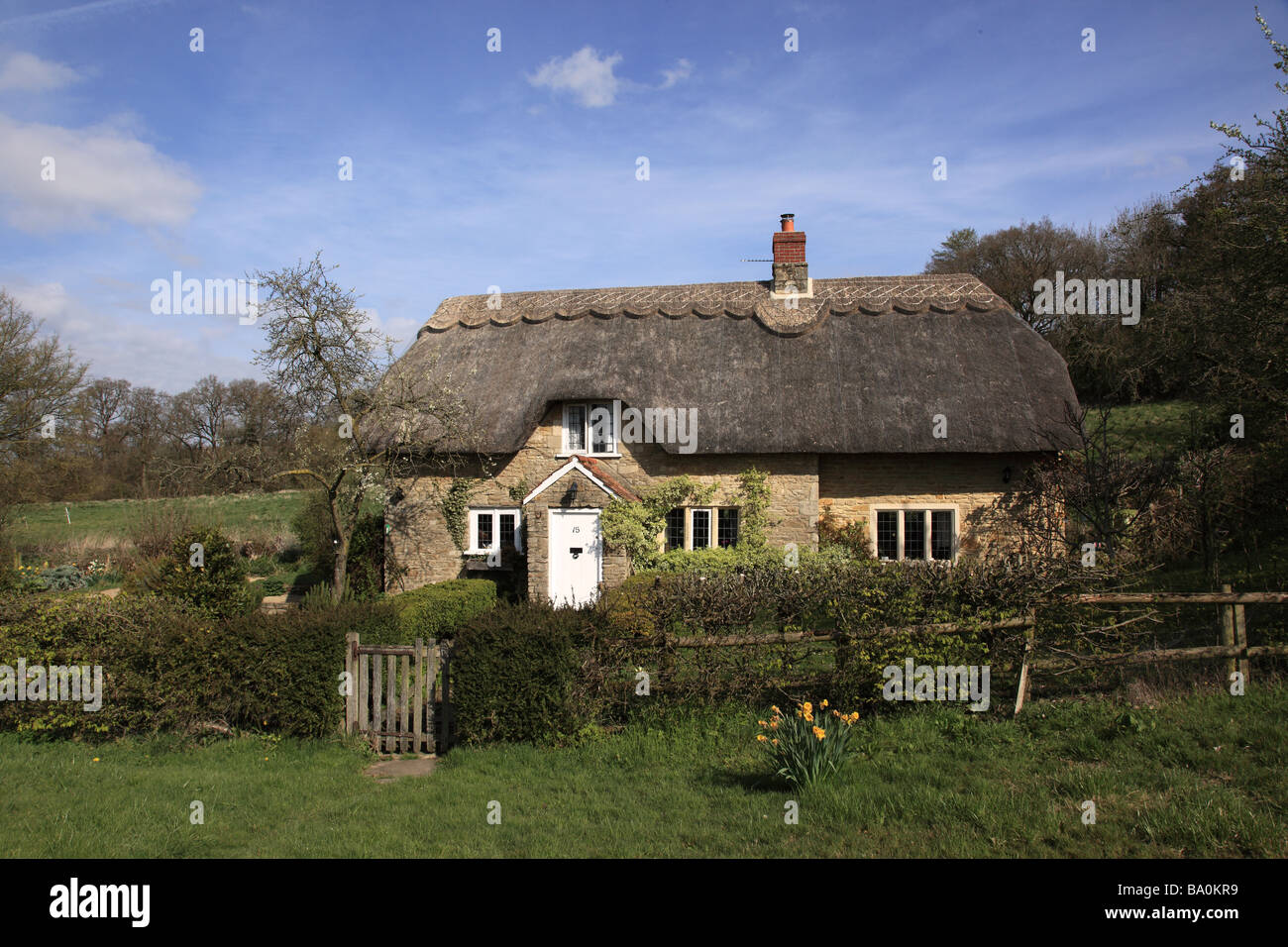 Thatched Cottage near Lacock, Wiltshire, England - Stock Image