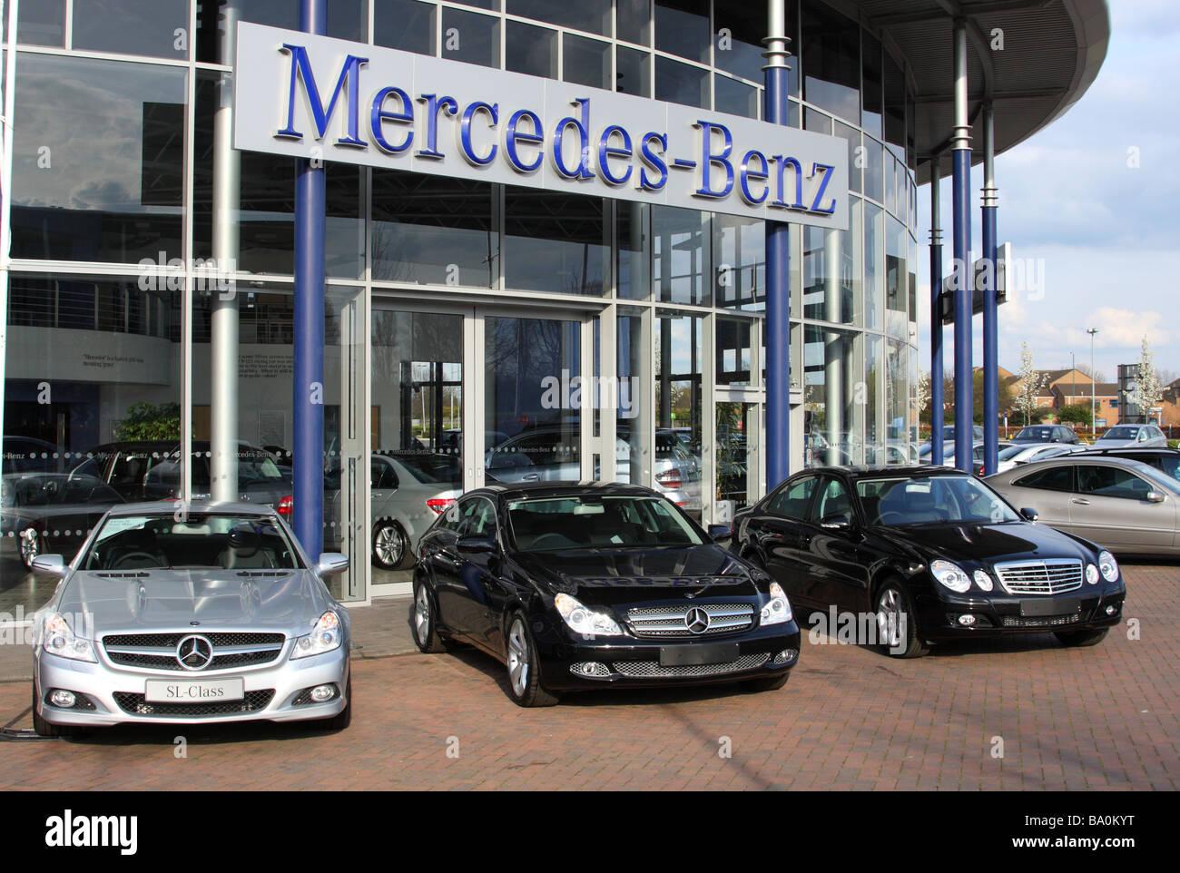 A Mercedes-Benz dealership in a U.K. city. Stock Photo