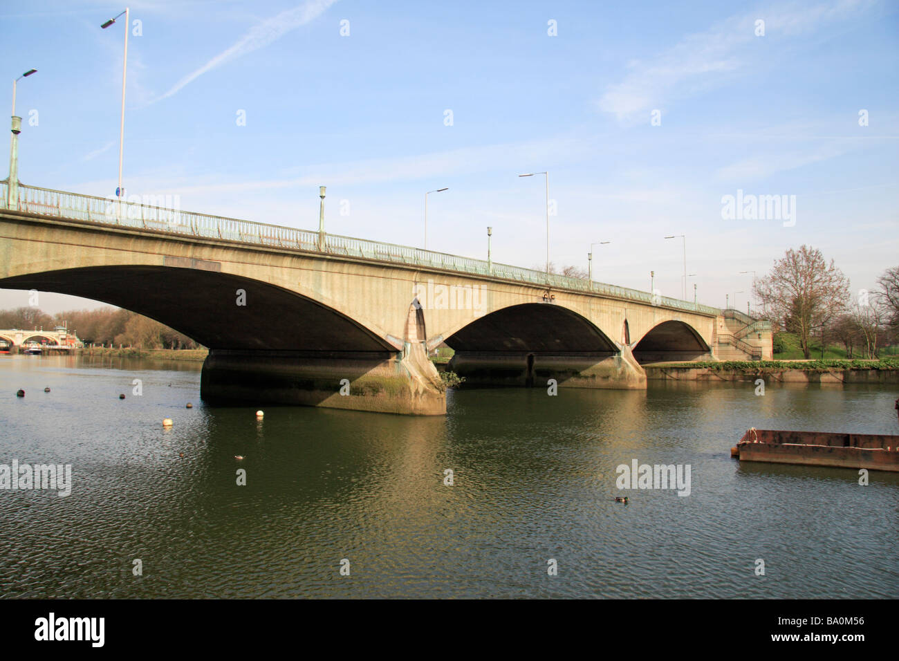 Twickenham Bridge over the River Thames viewed from the north bank. - Stock Image