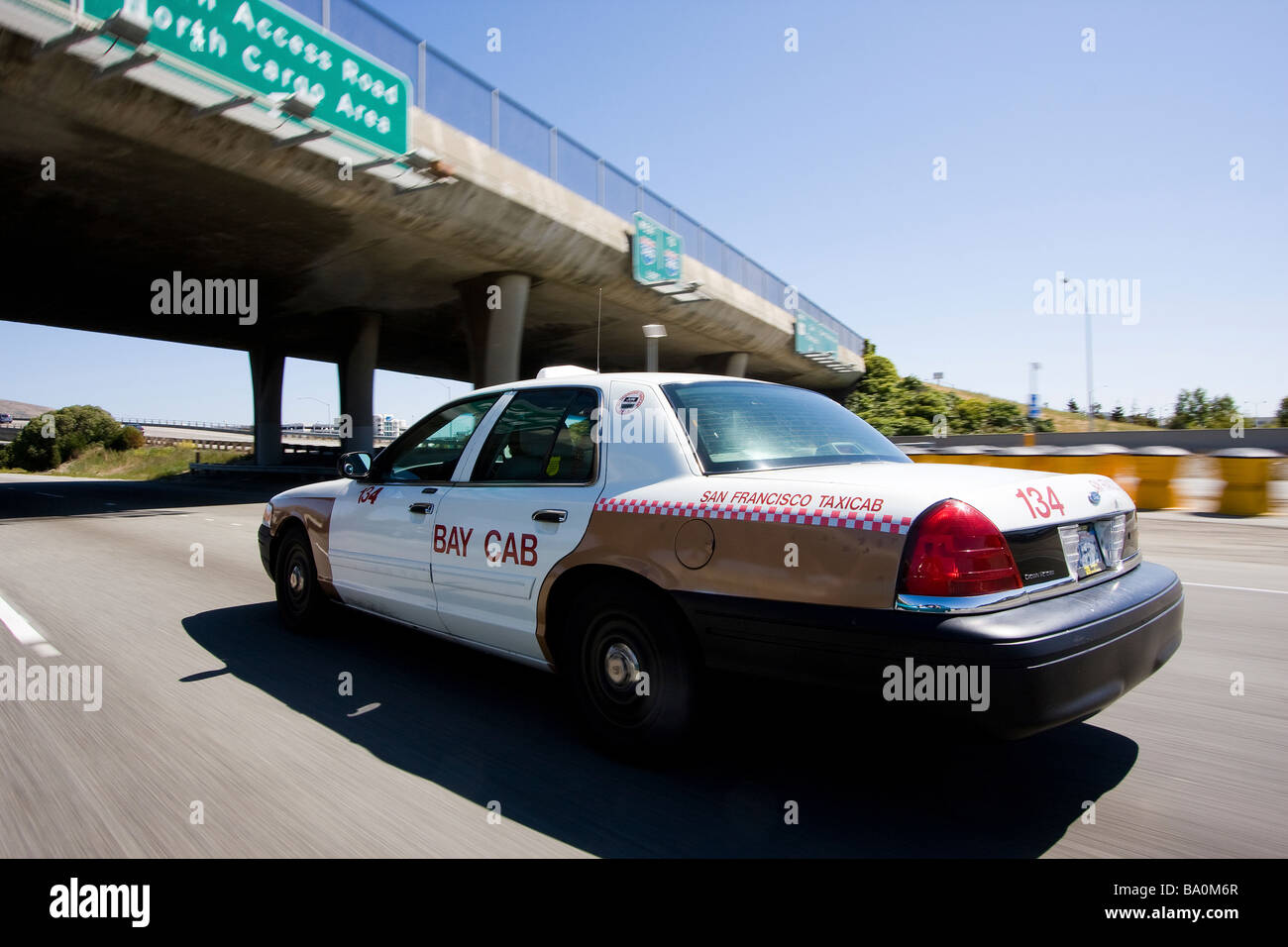 A taxi on the 101 highway North, San Francisco, California, USA - Stock Image