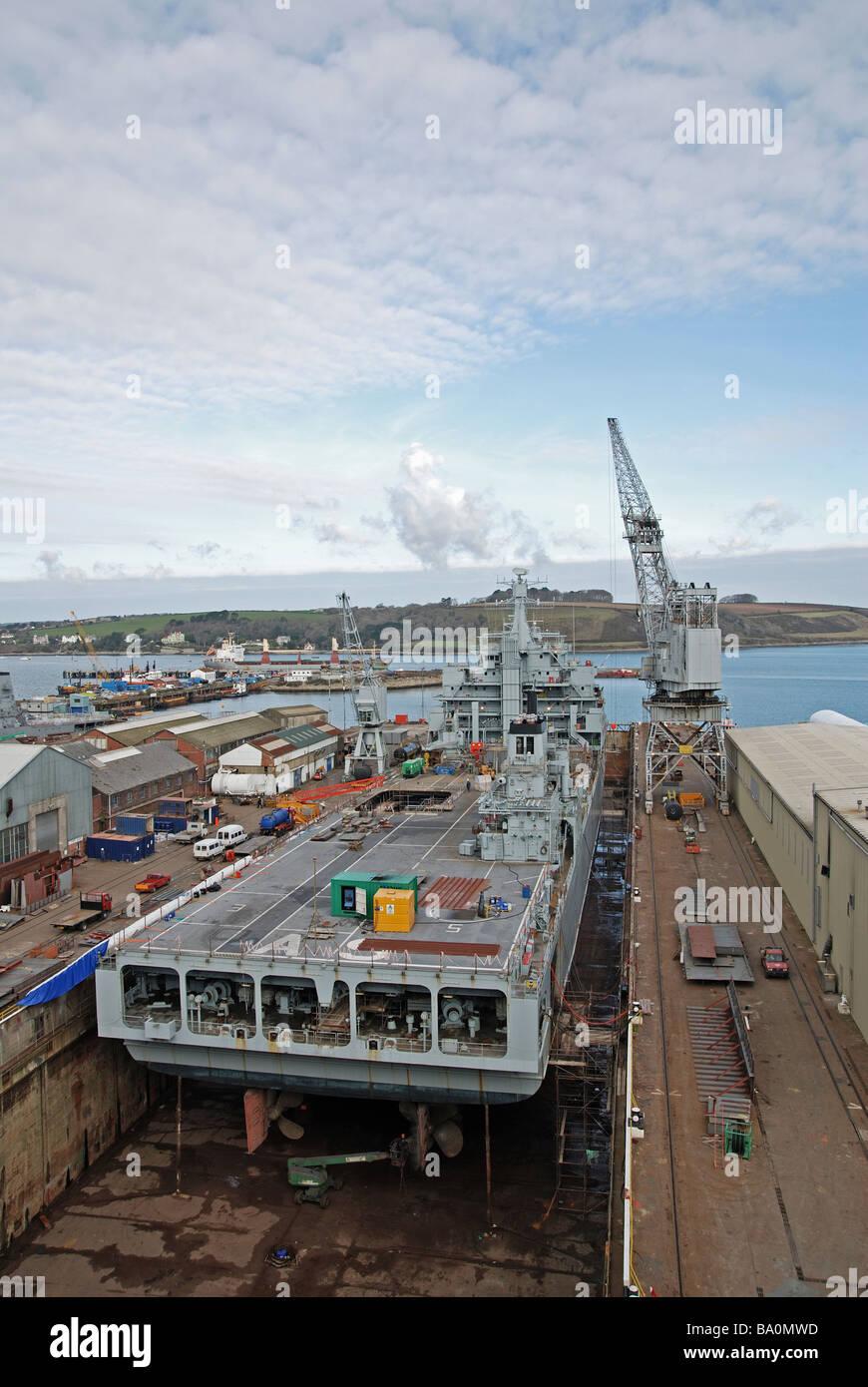 a ship in dry dock at a&p shipyard,falmouth,cornwall,uk - Stock Image