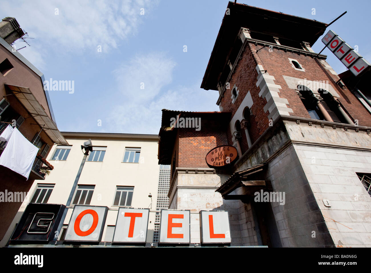 Old abandoned run-down hotel in Como, Italy - Stock Image