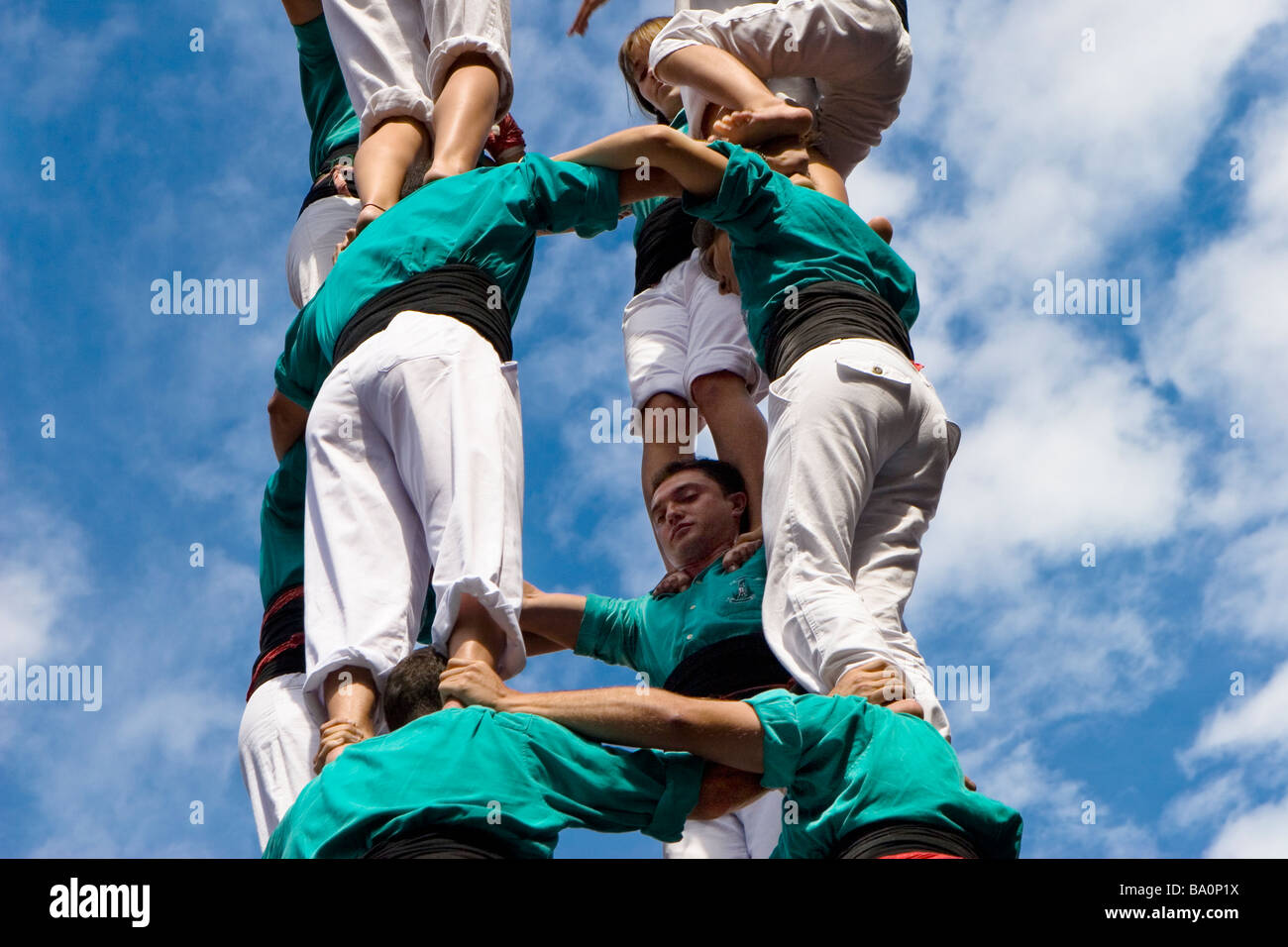 Castellers Competition during the La Merce Festival in Placa de Sant Jaume Barcelona Spain, team Vila Franca - Stock Image