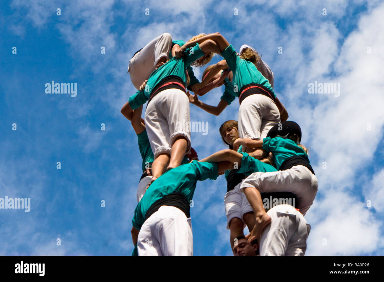 Castellers Competition during the La Merce Festival in Placa de Sant Jaume Barcelona Spain, team Vila Franca - Stock Image