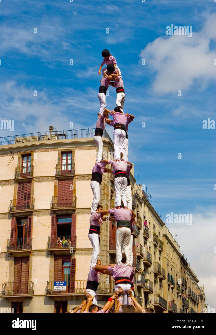Castellers Competition during the La Merce Festival in Placa de Sant Jaume Barcelona Spain - Stock Image
