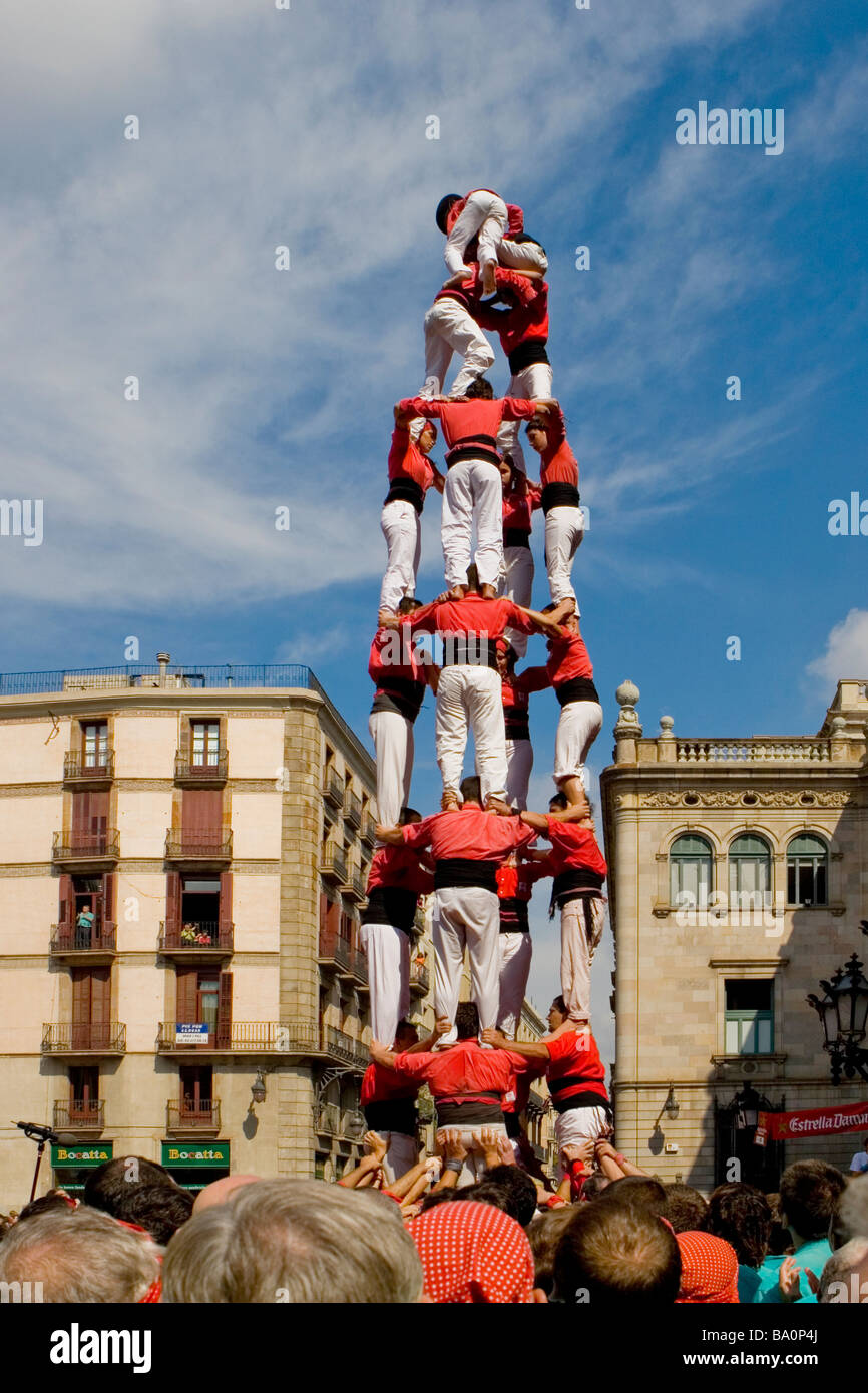 Castellers Competition during the La Merce Festival in Placa de Sant Jaume Barcelona Spain, team Barcelona Stock Photo