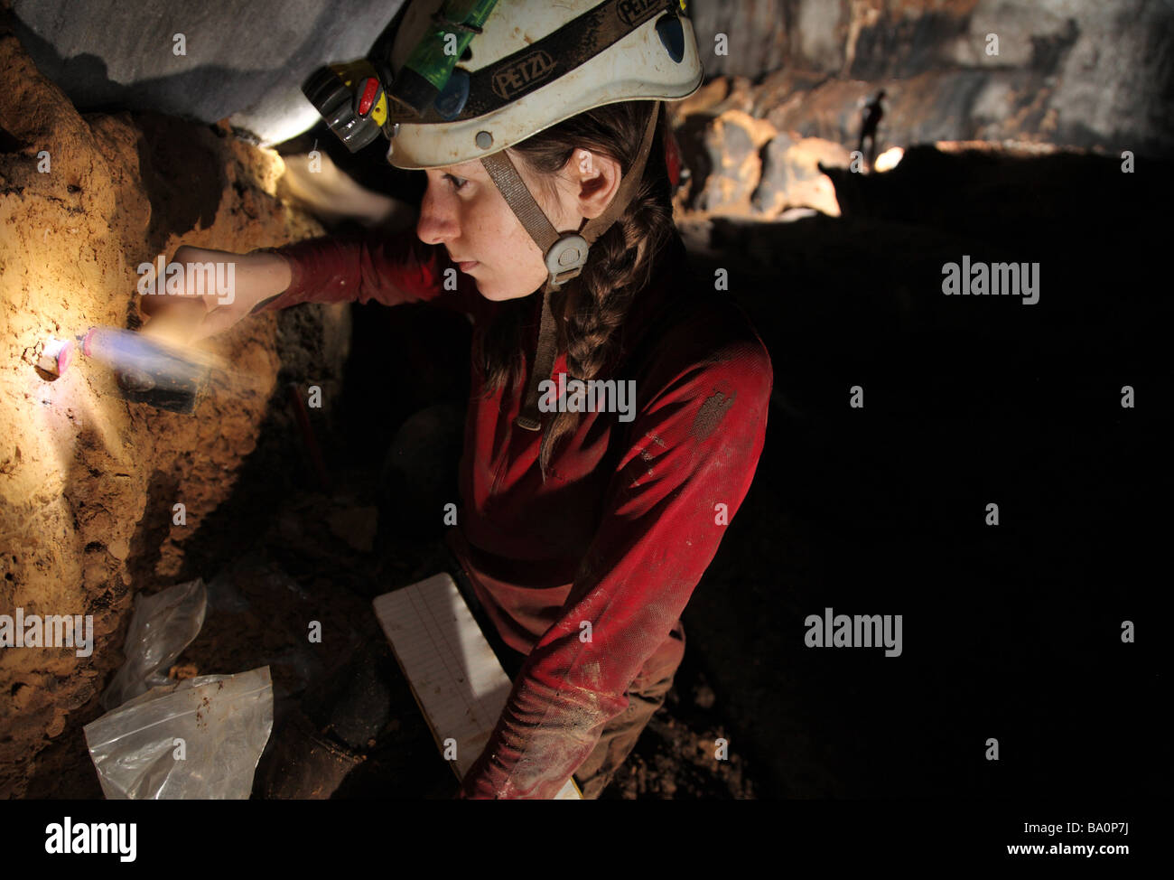 Young female PhD student takes core sediment samples from a mud bank in a cave in Mulu National Park, Sarawak Borneo - Stock Image