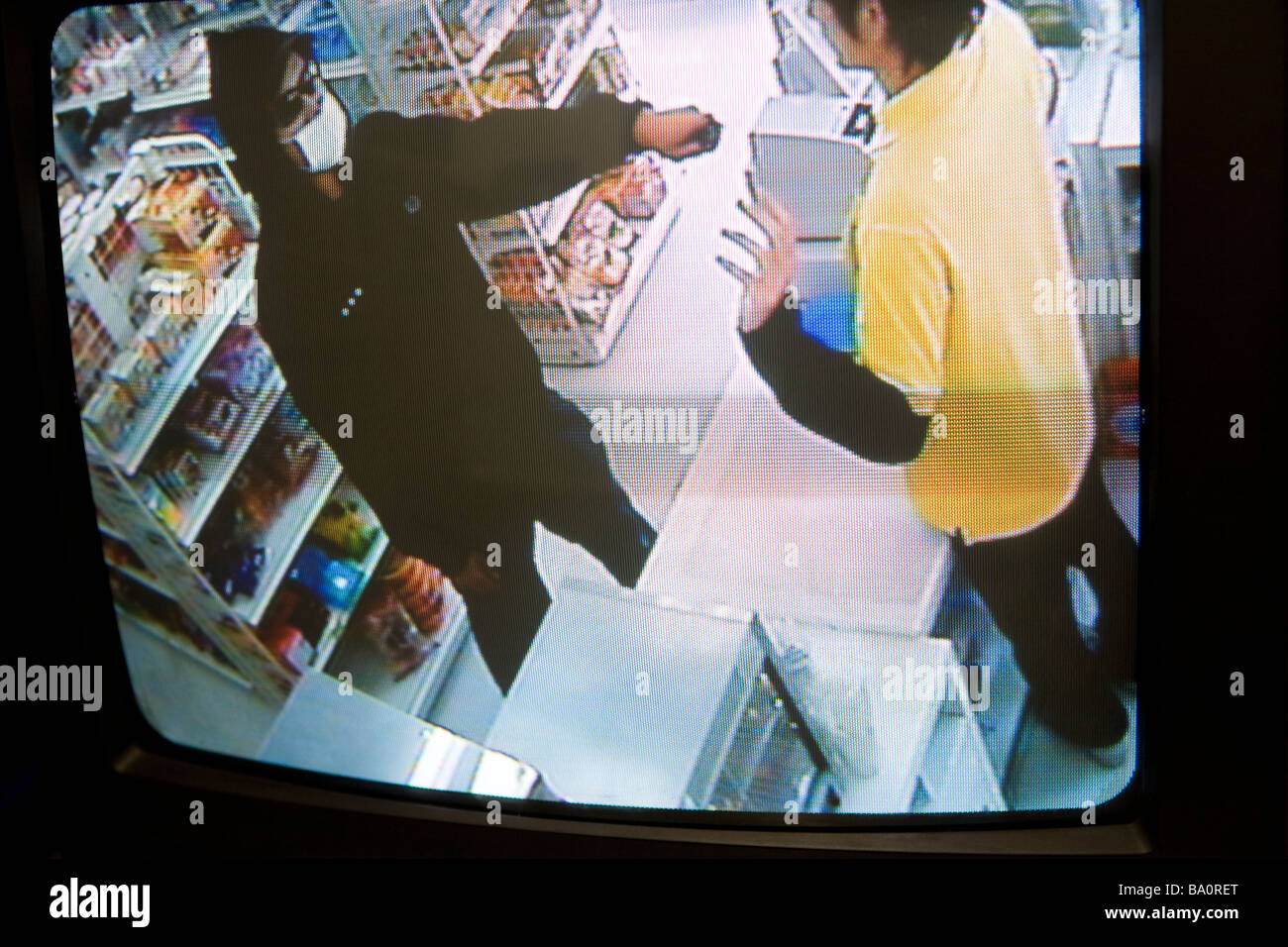 Image of security camera at convenience store - Stock Image