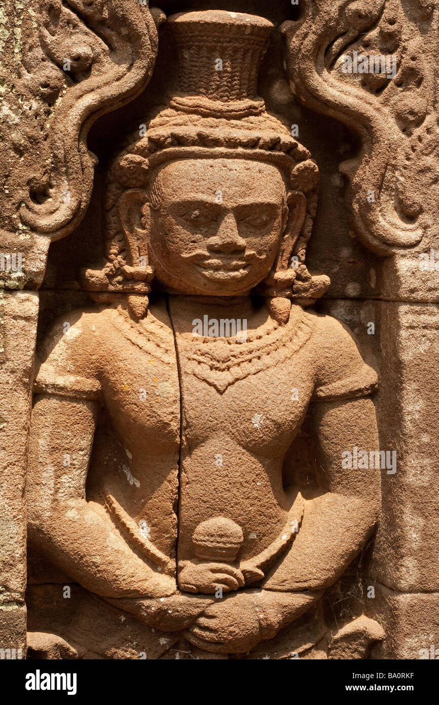 Khmer Stone relief found amongst the ancient ruins at Champasak, Southern Laos - Stock Image