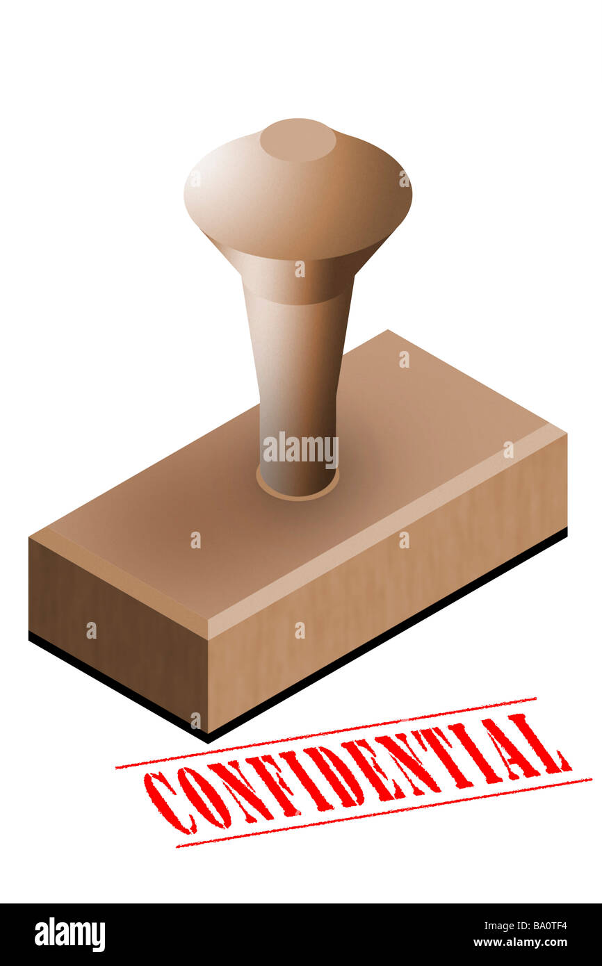 Confidential office rubber stamp - Stock Image