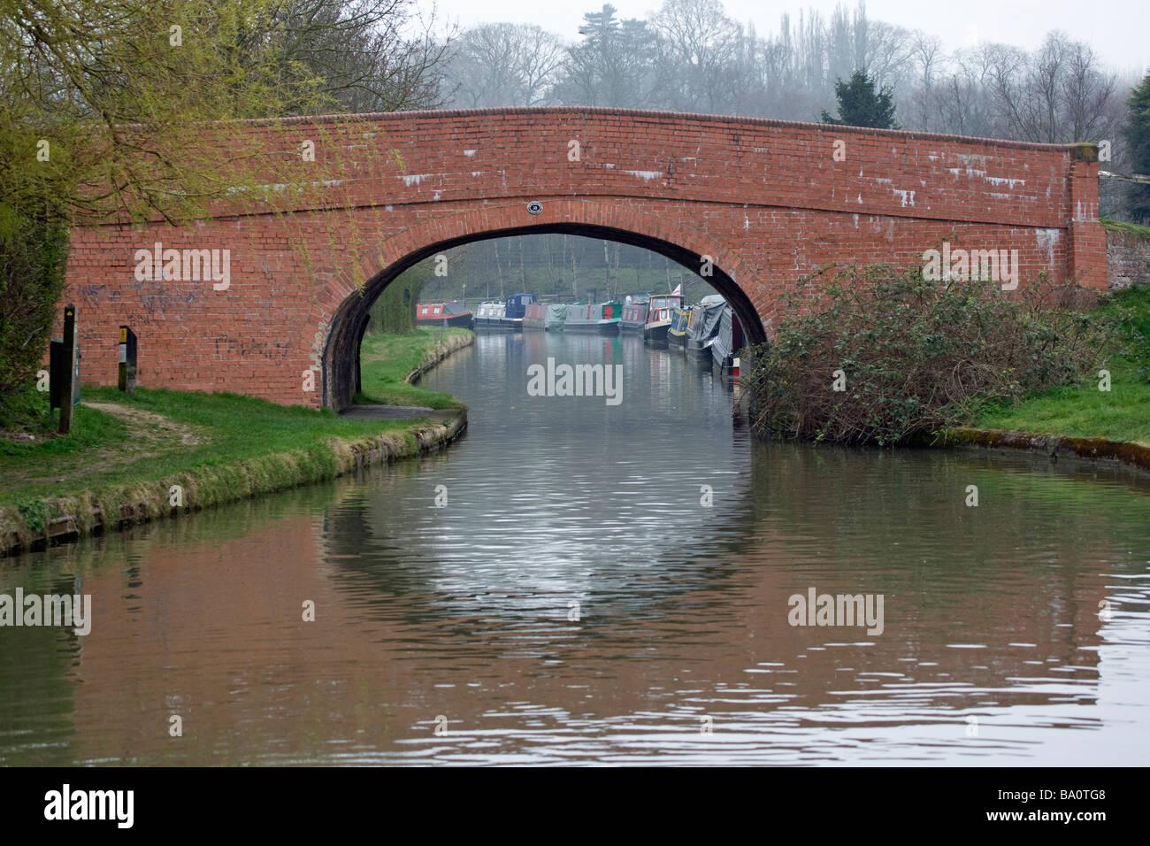 Approaching Bridge on Grand Union Canal Stock Photo