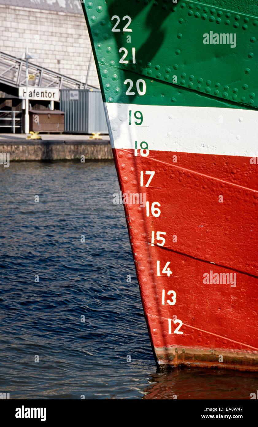 April 2, 2009 - Plimsoll depth gauge of sailing ship Rickmer Rickmers at Landungsbrücken in the German city of Hamburg. Stock Photo