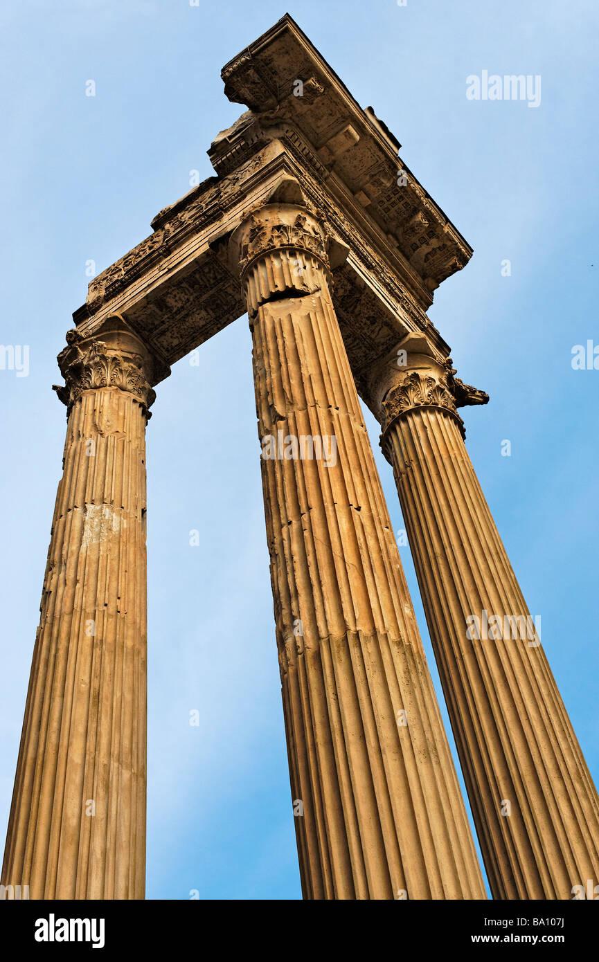 Corinthian columns of Temple of Apollo near Campo de Fiori Rome - Stock Image