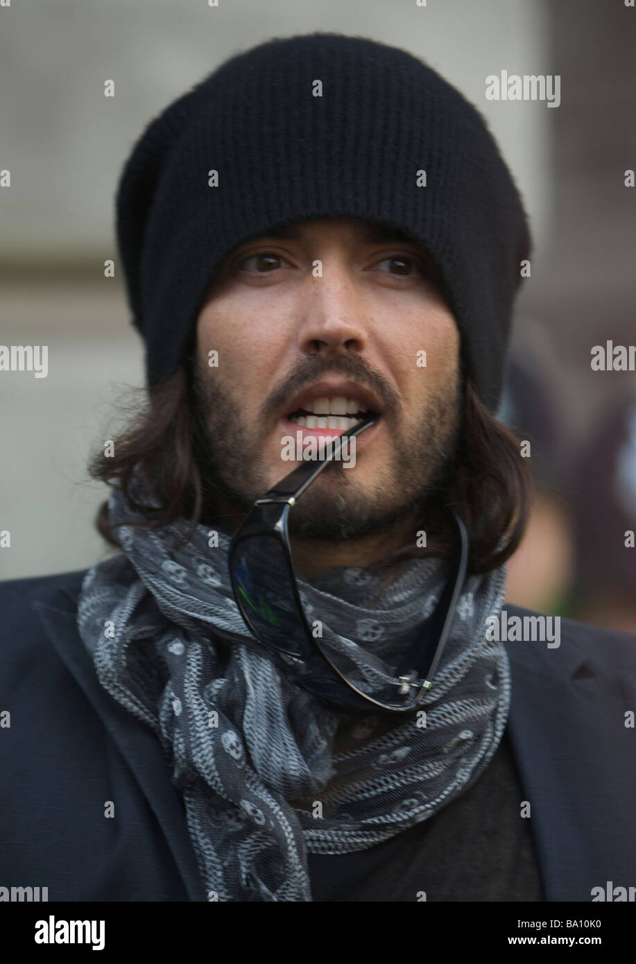 LONDON 1 April Pic shows Russel Brand at the G20 Protests at the bank of England Bank Of England London 1st of April - Stock Image