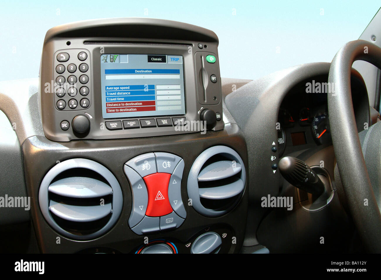 Satellite navigation display on a fiat doblo car - Stock Image