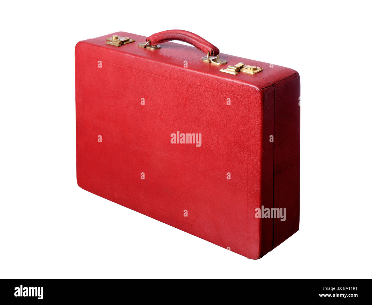 vintage Red leather briefcase - Stock Image