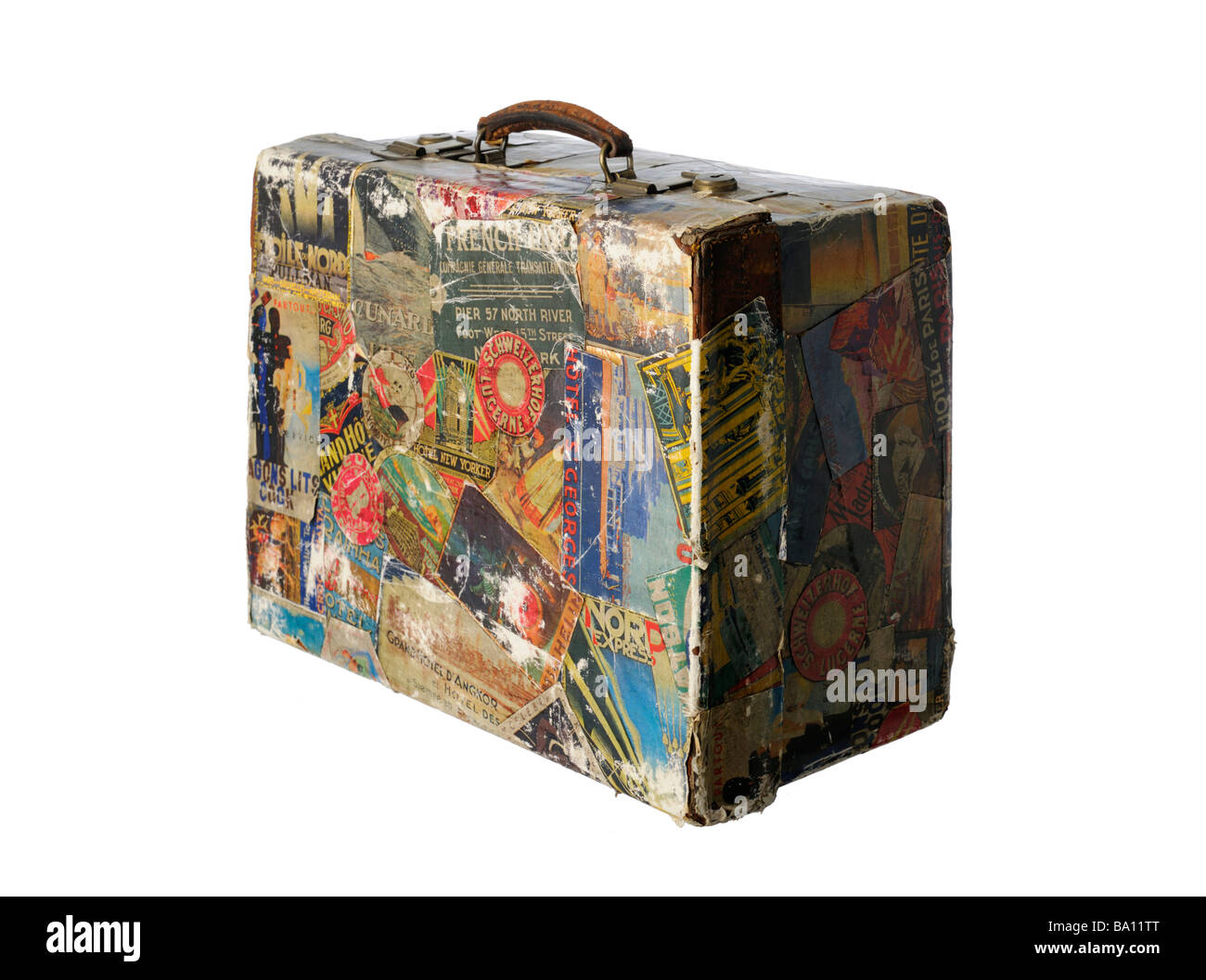 Vintage suitcase old travel stickers retro - Stock Image