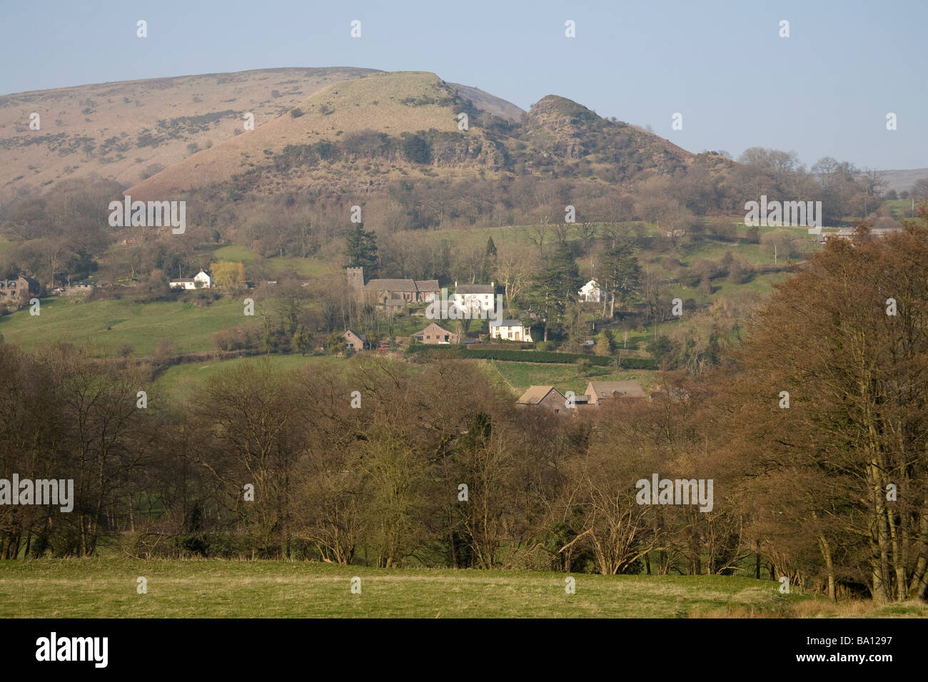 Cwmyoy Monmouthshire Wales UK March Looking across to this small village on the Cistercian Way in Brecon Beacons - Stock Image