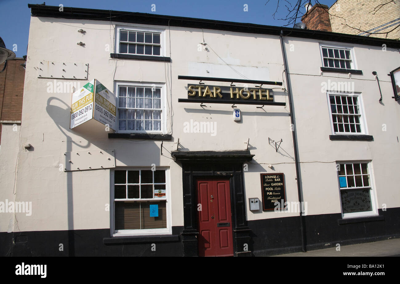 Whitchurch Shropshire England UK March A public house looking for a tenant - Stock Image