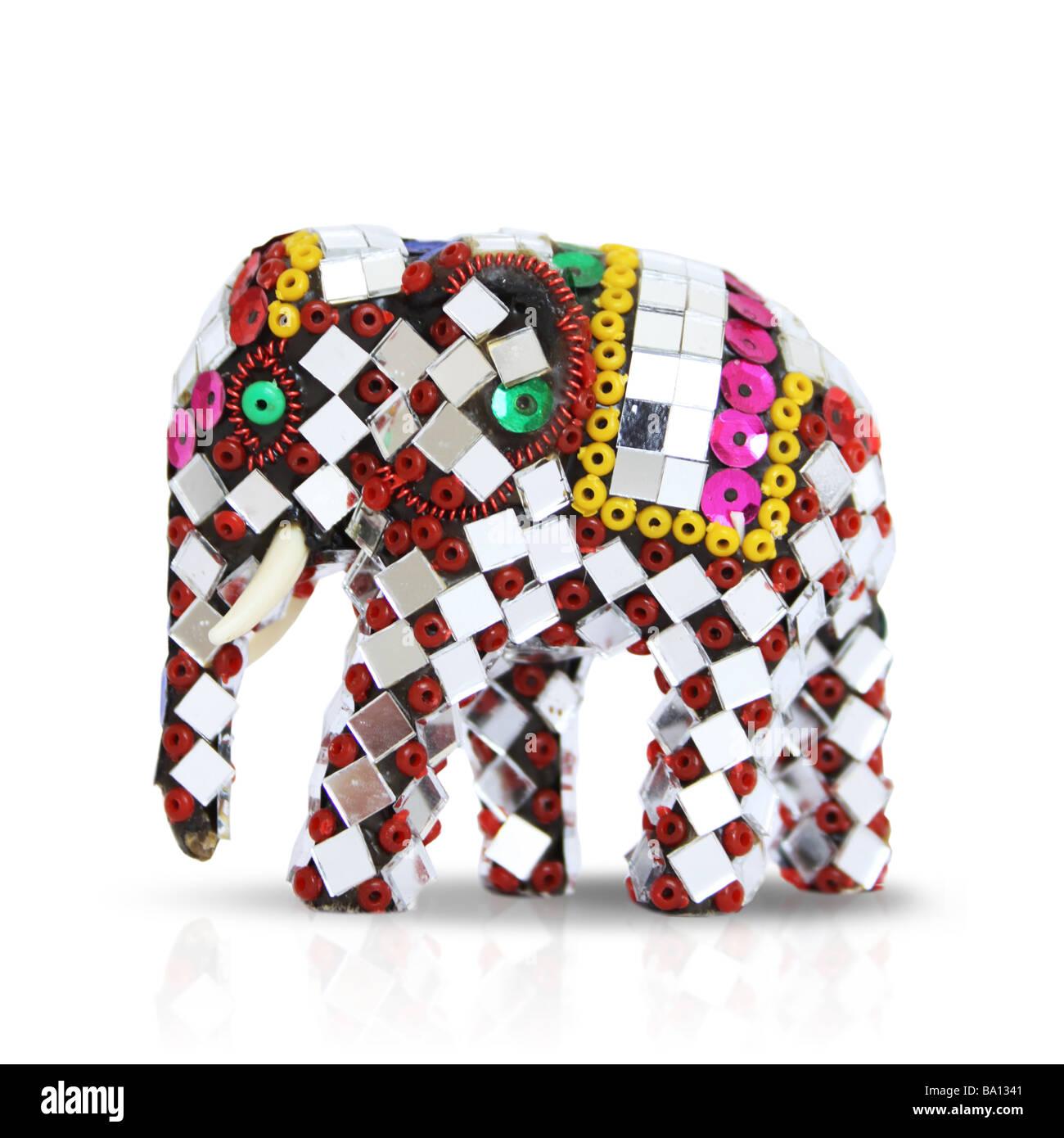 Decorated ornate Thai elephant figure - Stock Image