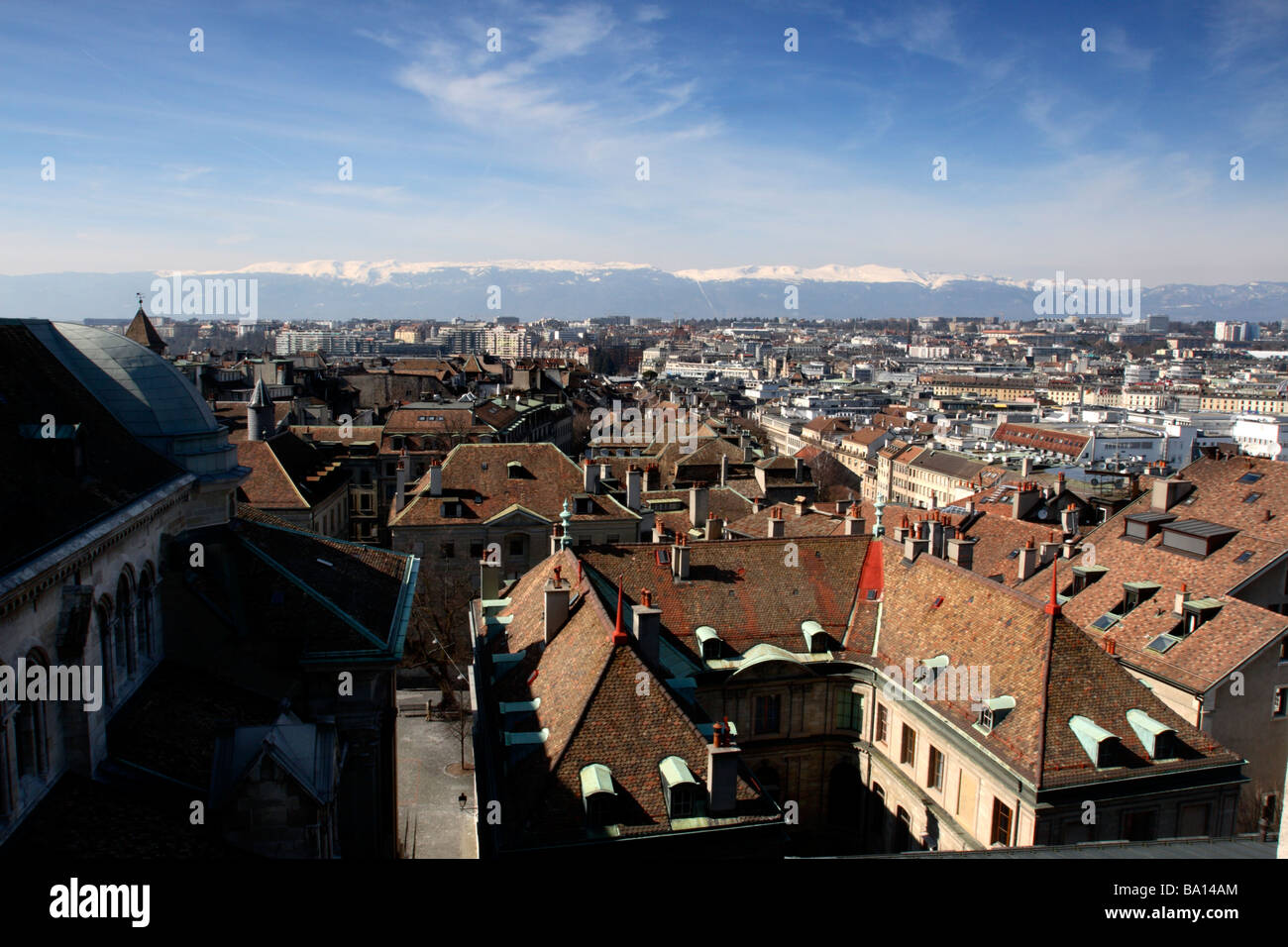 Old Town, Geneva, seen from St Peter's Cathedral, Geneva, Switzerland - Stock Image