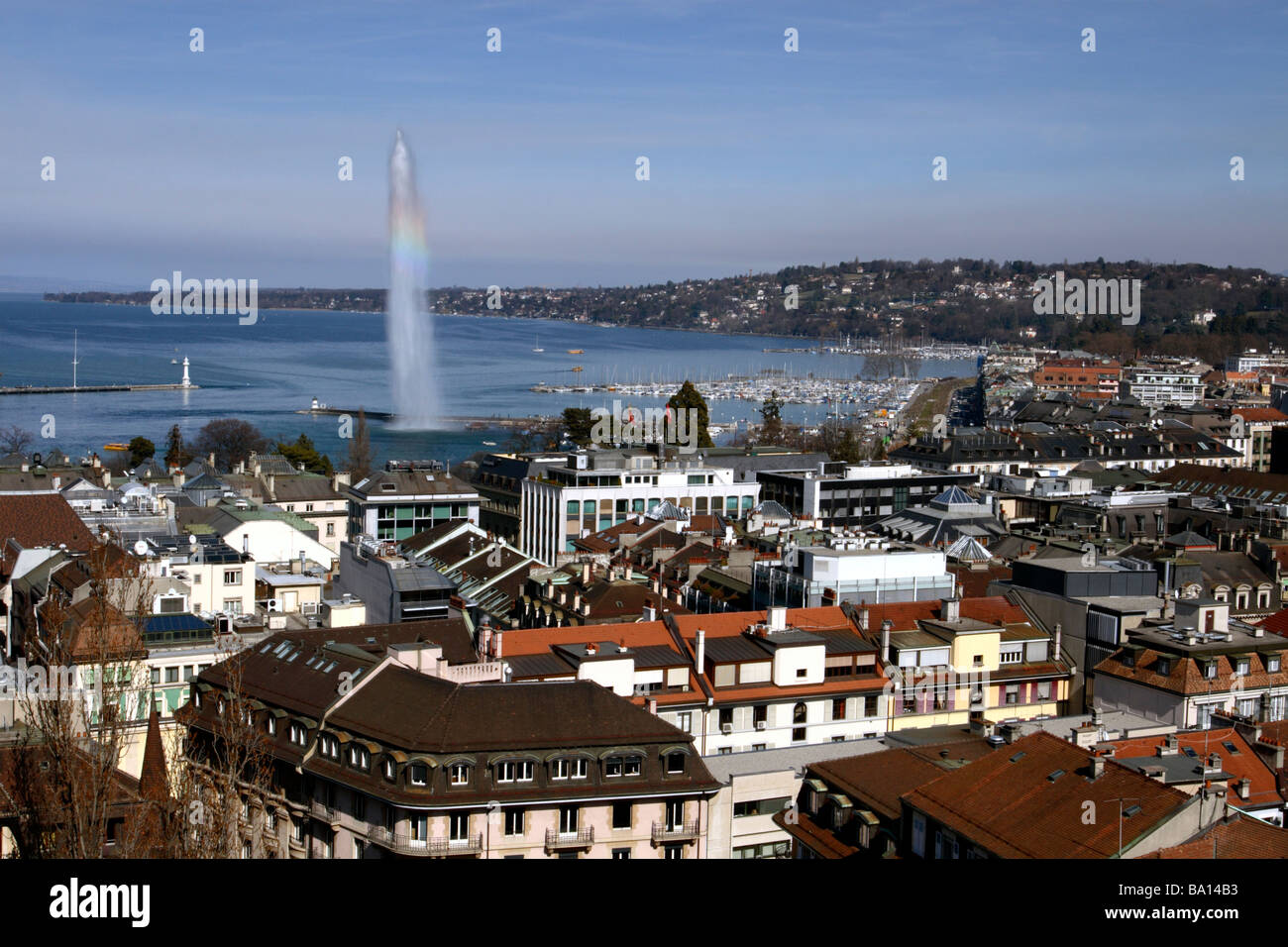 Lake Geneva and Jet d'Eau seen from St Peter's Cathedral, Geneva, Switzerland - Stock Image