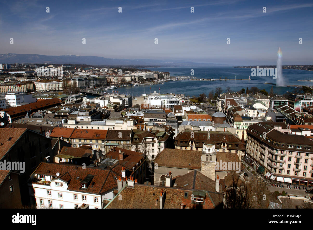 Lake Geneva (Lac Léman ) and Jet d'Eau seen from St Peter's Cathedral, Geneva, Switzerland - Stock Image