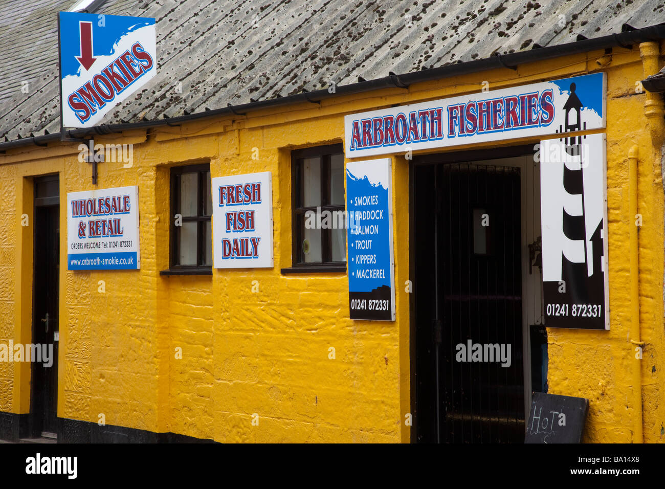 Arbroath Smokies Wholesale and Retail,  Seafood Shop in Arbroath, selling fresh fish daily, Scotland, UK - Stock Image