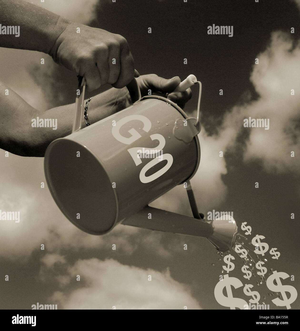 G20 financial stimulus of the world economy (CONCEPT) showing a watering can labeled G20 with dollar graphic instead - Stock Image