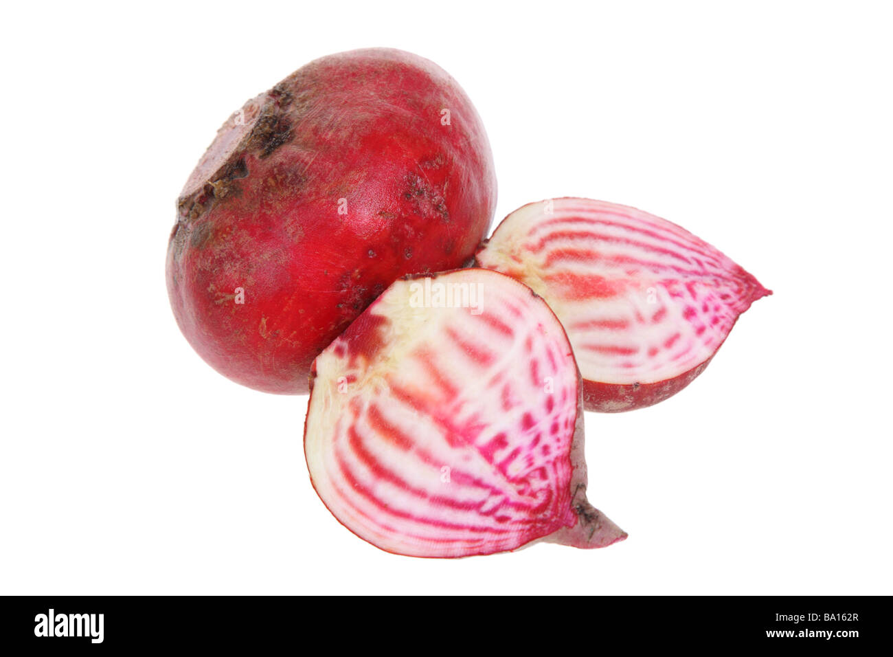 Chioggia Beets cutout on white background Stock Photo