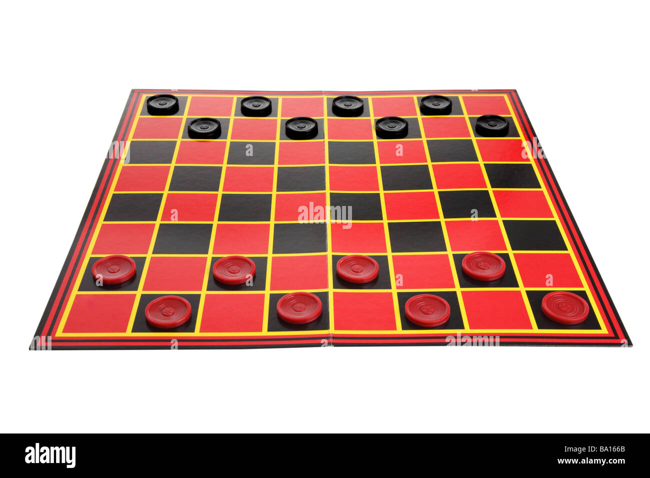 Checkers game board cutout on white background - Stock Image