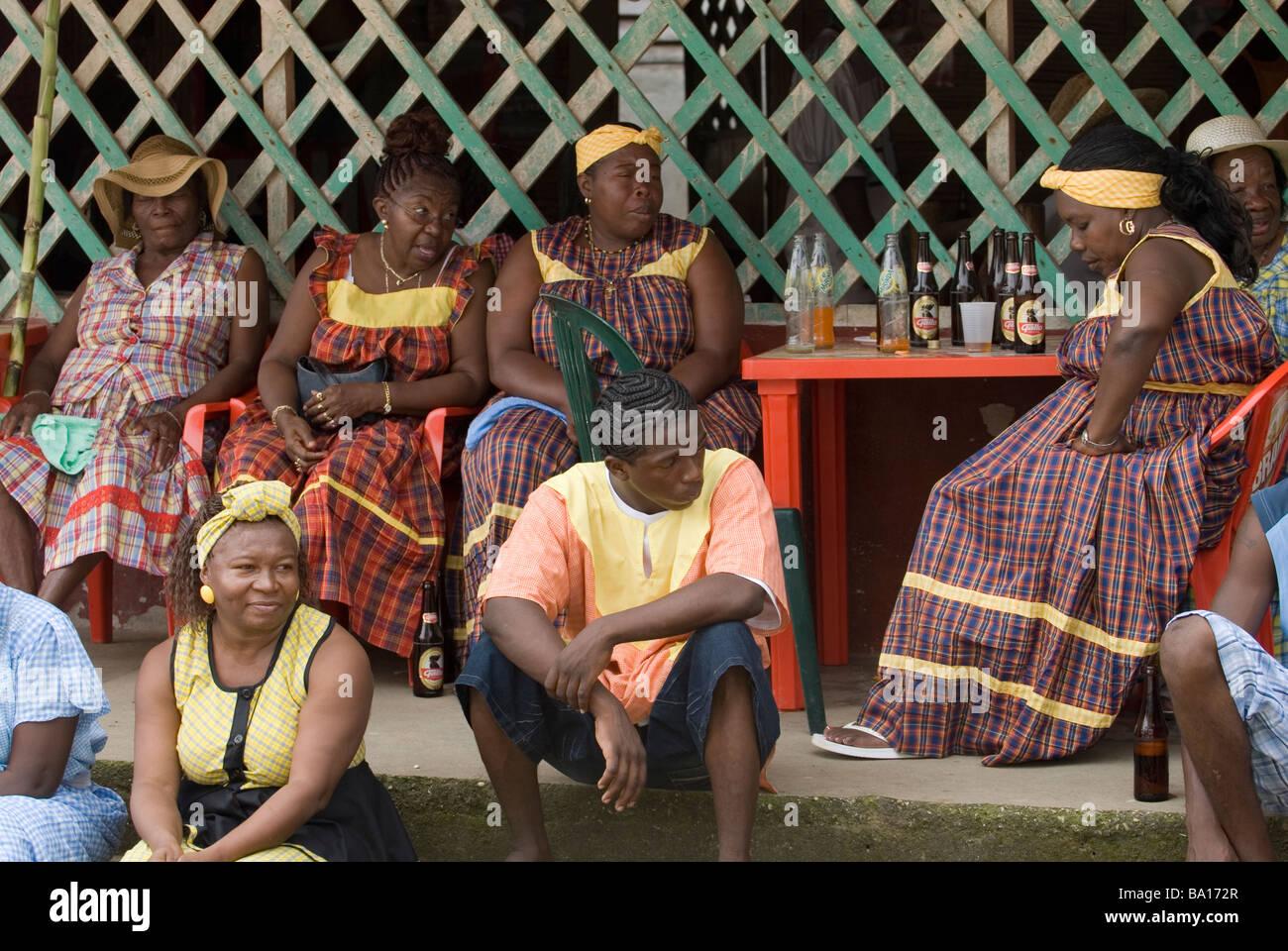 Garifuna people gathering at the annual Garifuna festival. Livingston, Guatemala. - Stock Image