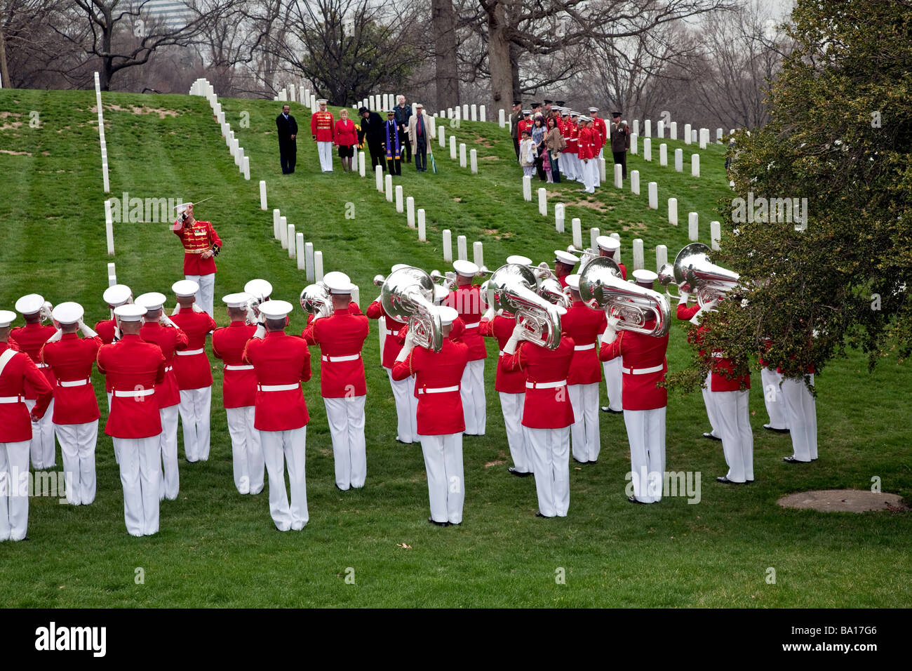 The Marine Corps Drum and Bugle Corps at a Funeral in Arlington National Cemetery;Washington;DC;USA Stock Photo