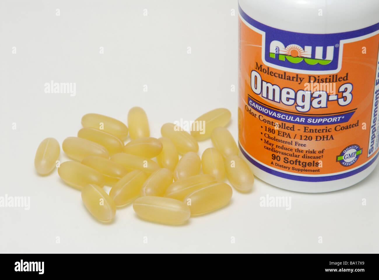 Fish oil gelatin capsules for supplementation of Omega 3 omega-3 fatty acids - Stock Image