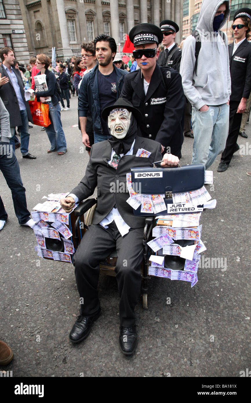 Protestors at the G20 protests in London - Stock Image