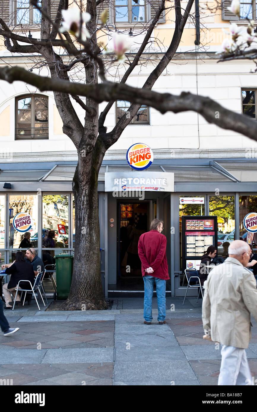 Burger King branch in Lugano, Ticino, Switzerland - Stock Image